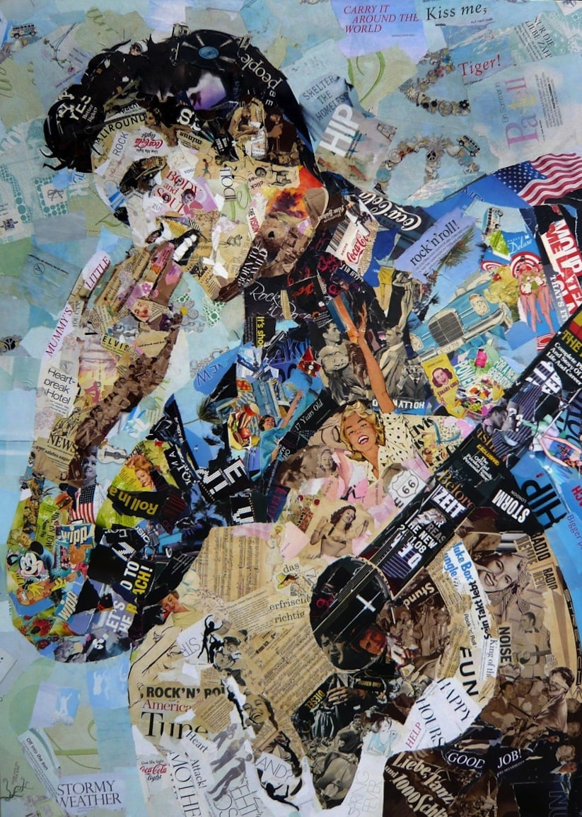 Iconic collage portraits made of old newspapers glossy for Ideen fa r fotocollage