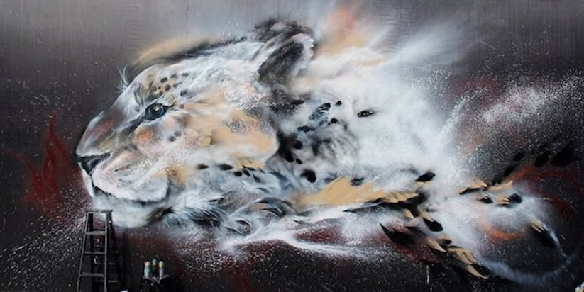 Streetart: Splatter Ink Cheetah Mural by Hua Tunan -