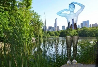 Body-Painted Models blend into famous NYC Landmarks by Trina Merry