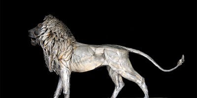 Lion Sculpture Made From 4000 pieces Of Metal Scraps
