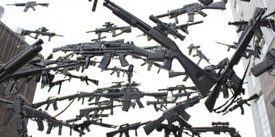 USA Map made of 130 suspended Toy Guns by Michael Murphy