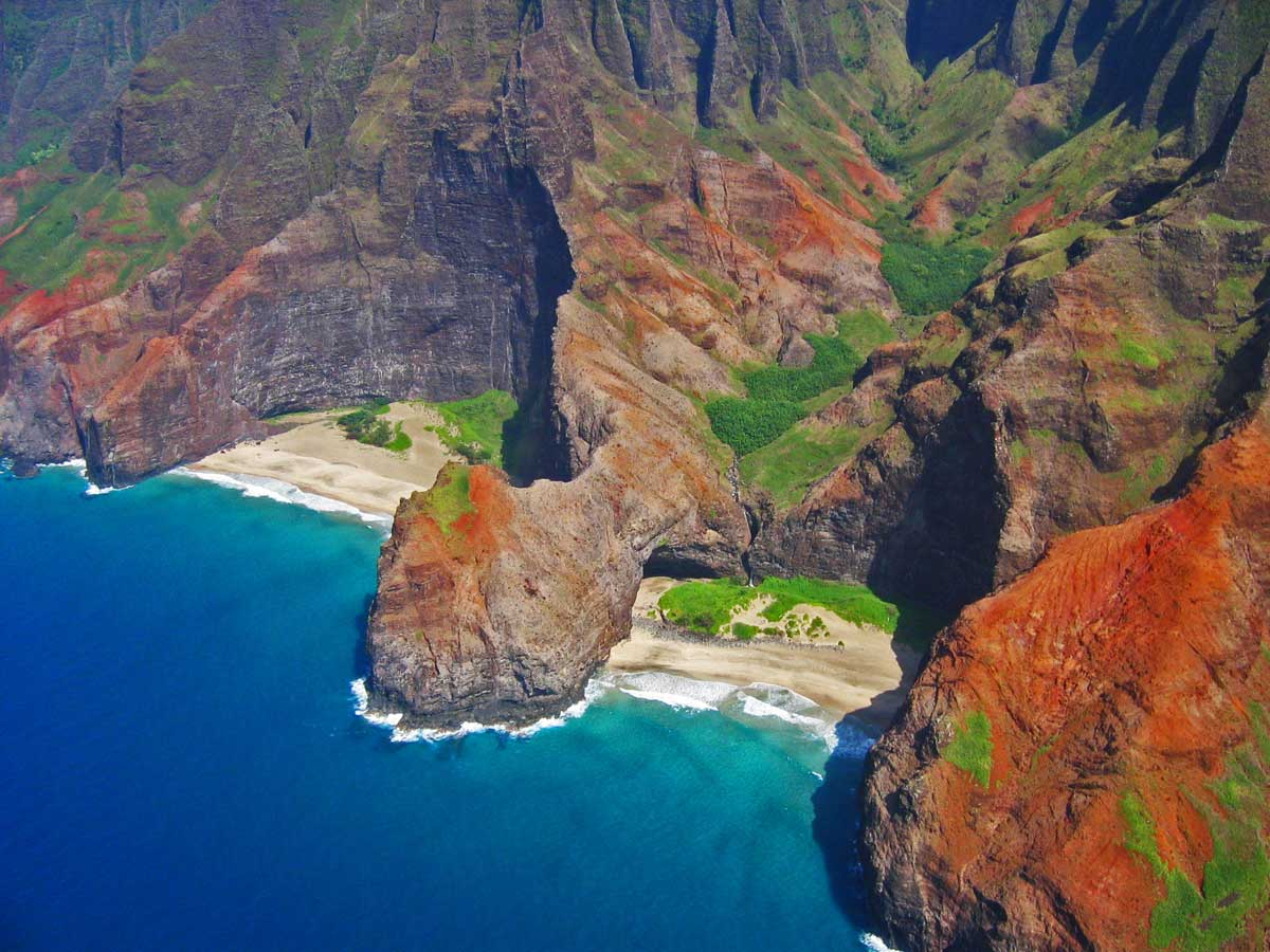 Hang-gliding over the Hidden Beaches of Kapaa, Hawaii.