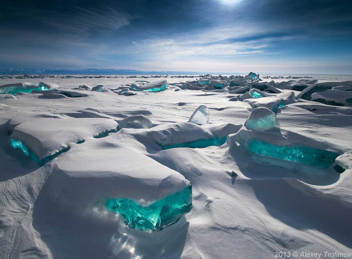 Licking the turquoise Ice on Northern Lake Baikal, Russia