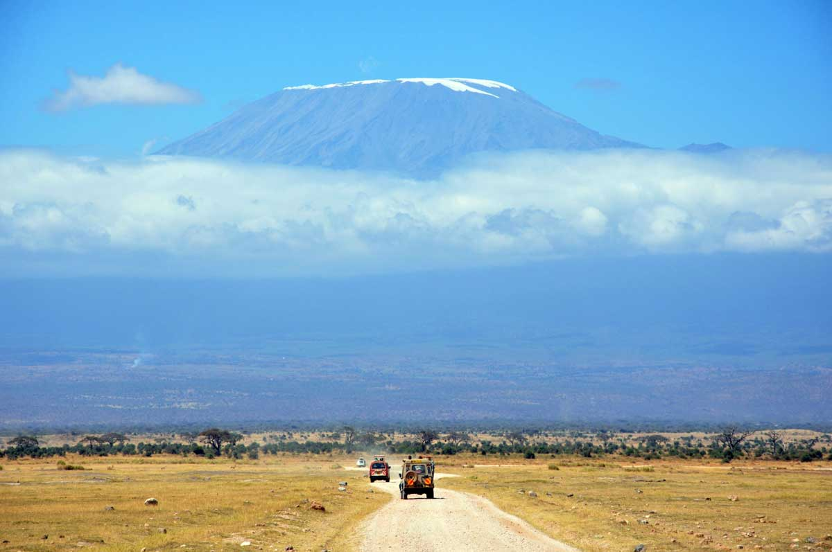 Rolling up on Mount Kilimanjaro in Masai Mara, Kenya