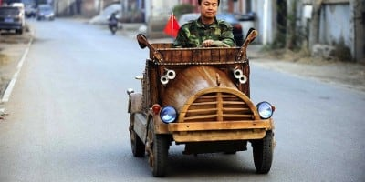An Electronic Wooden Car Homemade by Carpenter Liu Fulong in China