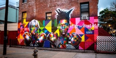 New Colorful Mural of Basquiat and Andy Warhol by Eduardo Kobra in Brooklyn // NYC