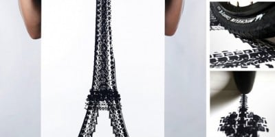 Famous Landmarks Printed with Bicycle Tire Tracks by Artist Thomas Yang