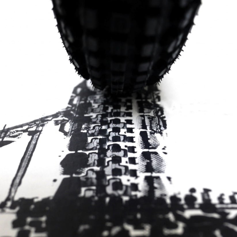 Famous landmarks printed with bicycle tire tracks by for Black and white celebrity prints