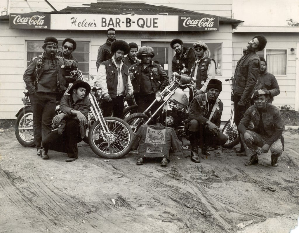 The East Bay Dragons, the first black bikers' club, Oakland, California, 1960s