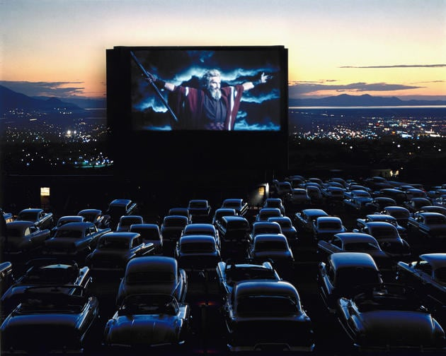 "Charlton Heston as Moses in ""The Ten Commandments,"" drive-in theater, Utah, 1958"