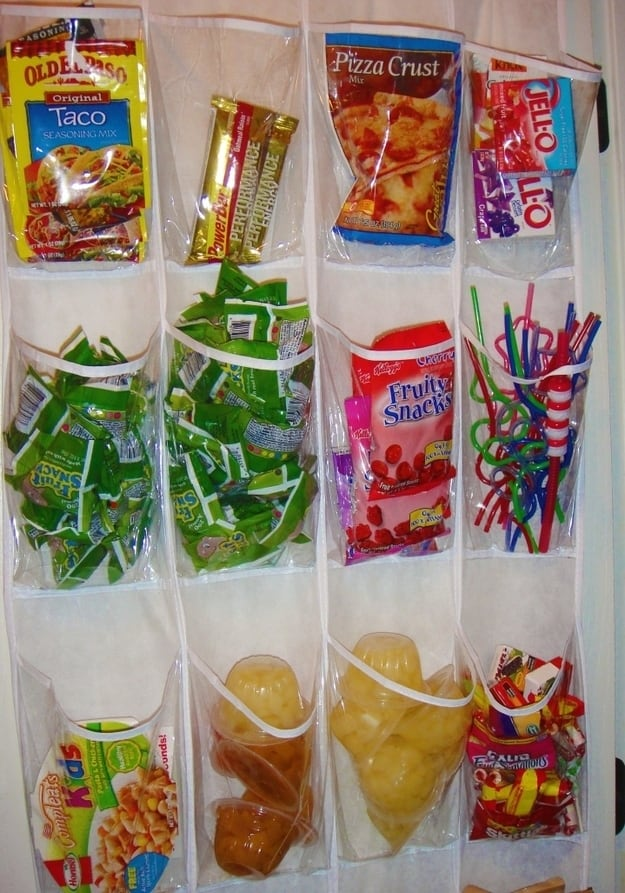 A shoe organizer is perfect for the pantry.