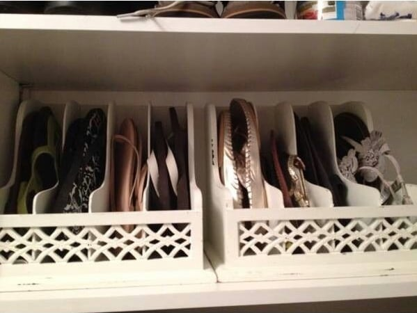 Use letter organizers to store flip flops or flats.