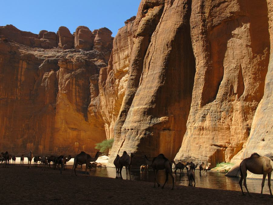 Guelta d'Archei – The Most Famous Permanent Water Source in the Ennedi Region of Chad -river, mountains, desert