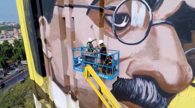 India's largest Mural of Dadasaheb Phalke in Mumbai by Ranjit Dahiya -India