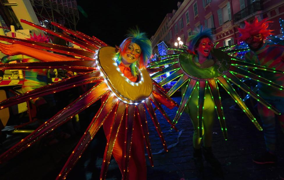 Dancers attend the Carnival parade in Nice