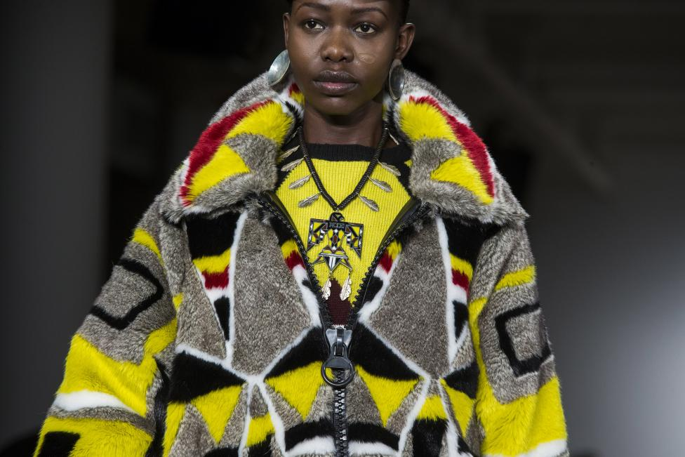 A model presents a creation from the KTZ Fall/Winter 2015 collection during New York Fashion Week