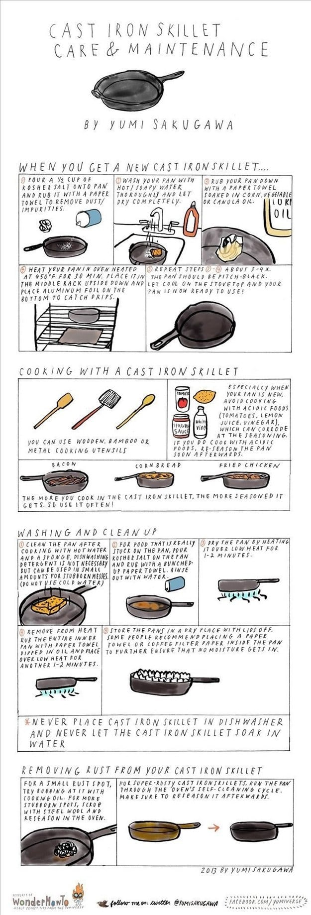 For cooking with and maintaining a cast iron skillet.