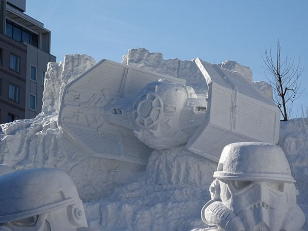 giant star wars snow sculpture sapporo festival japan 11 - Japanese Army Builds Enormous Star Wars Sculpture For Snow Festival