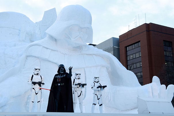 giant star wars snow sculpture sapporo festival japan 17 - Japanese Army Builds Enormous Star Wars Sculpture For Snow Festival