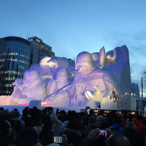 giant star wars snow sculpture sapporo festival japan 23 605x605 - Japanese Army Builds Enormous Star Wars Sculpture For Snow Festival