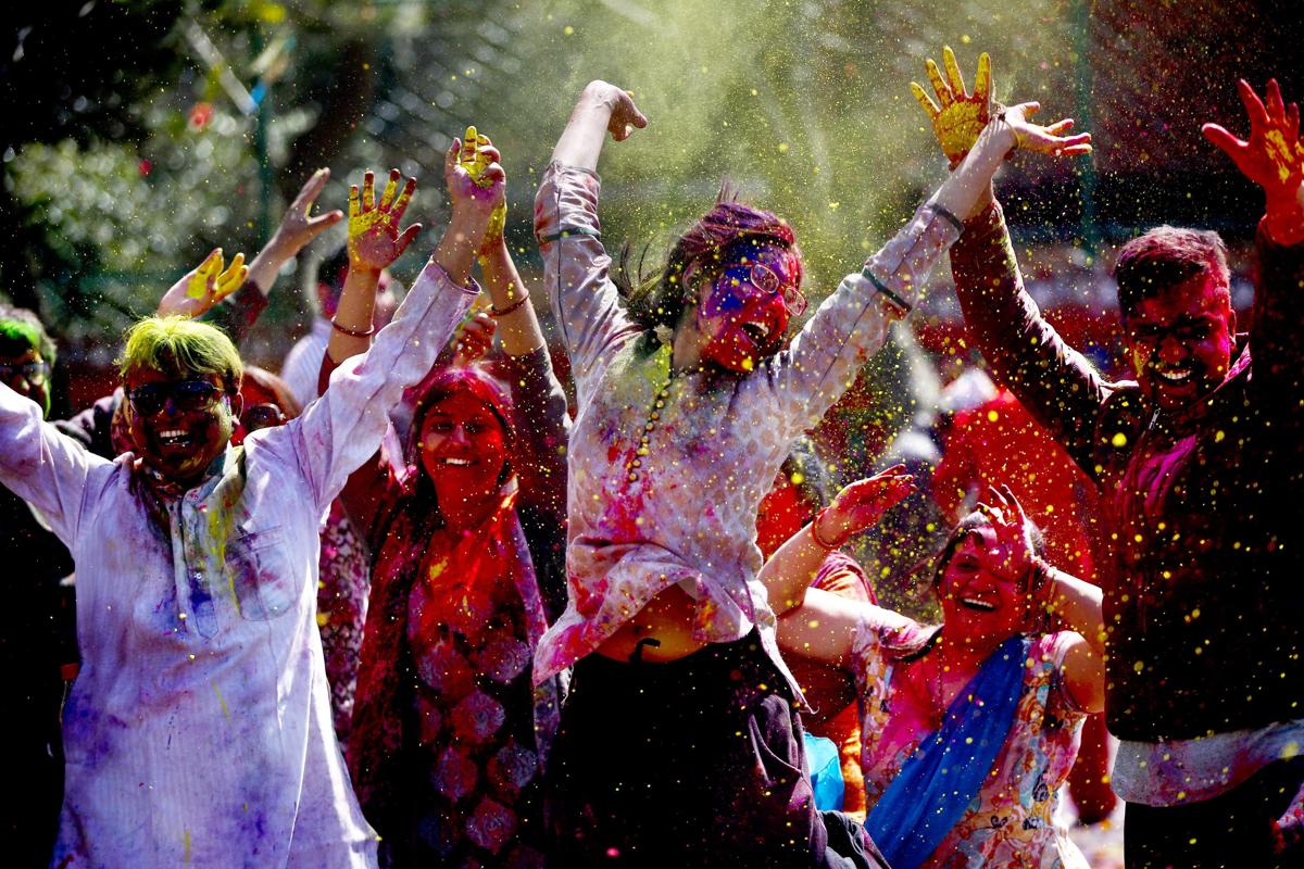 Members of the Nepalese ethnic Madhesi community celebrated the Holi Festival in Kathmandu, Nepal, on March 6. People from Madhesh lowland, who migrated to the capital, celebrated the Hindu spring festival of color. (Narendra Shrestha/EPA)