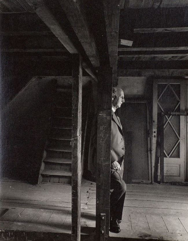 Anne Frank's father Otto, revisiting the attic where they hid from the Nazis. He was the only survivor (1960).