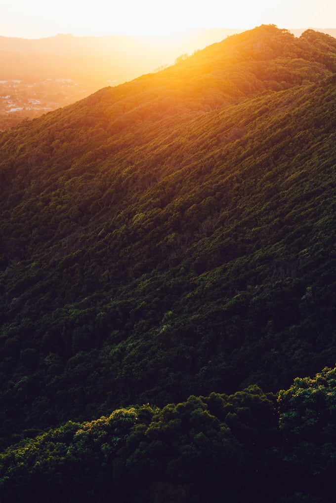 Sunset over the hills in Byron Bay