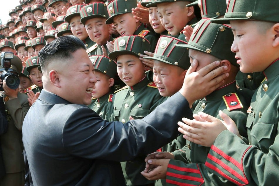North Korean leader Kim Jong Un visits Mangyongdae Revolutionary School on the occasion of the 68th anniversary of the founding of the Korean Children's Union. (Photo by Reuters/KCNA)