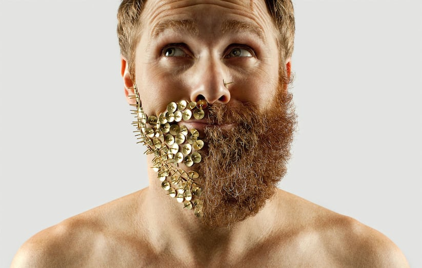 Fifty Fifty Selfie Barber Shop - Half of a Hipster Beard replaced with Everyday Objects -style, photography, fun, beard