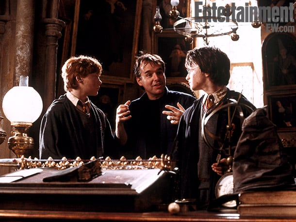 Grint, director Chris Columbus (center), and Radcliffe, Harry Potter and the Chamber of Secrets (2002) Image Credit: Peter Mountain