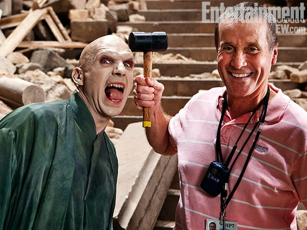 Ralph Fiennes (left) and gaffer Chuck Finch on set at the Marble Staircase, Harry Potter and the Deathly Hallows — Part 2 (2011) Image Credit: Jaap Buitendijk