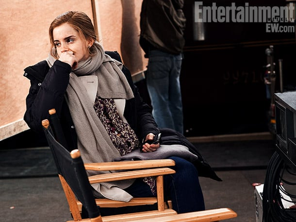 Emma Watson on set at King's Cross Platform, Harry Potter and the Deathly Hallows — Part 2 (2011) Image Credit: Linus Lucas
