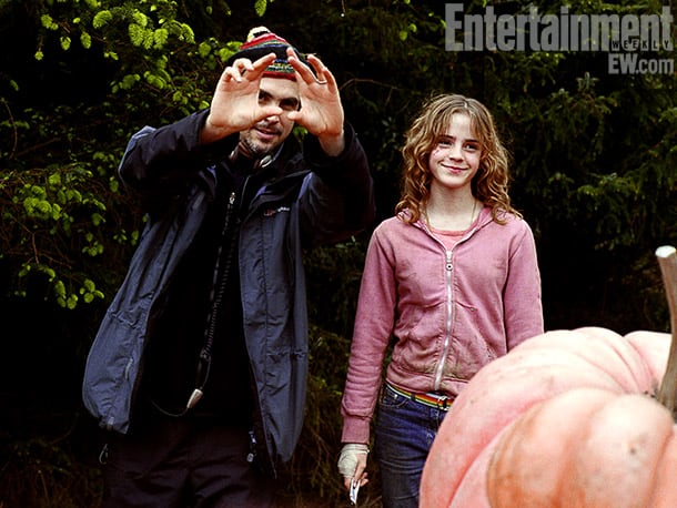 Director Alfonso Cuarón and Watson, Harry Potter and the Prisoner of Azkaban (2004) Image Credit: Murray Close