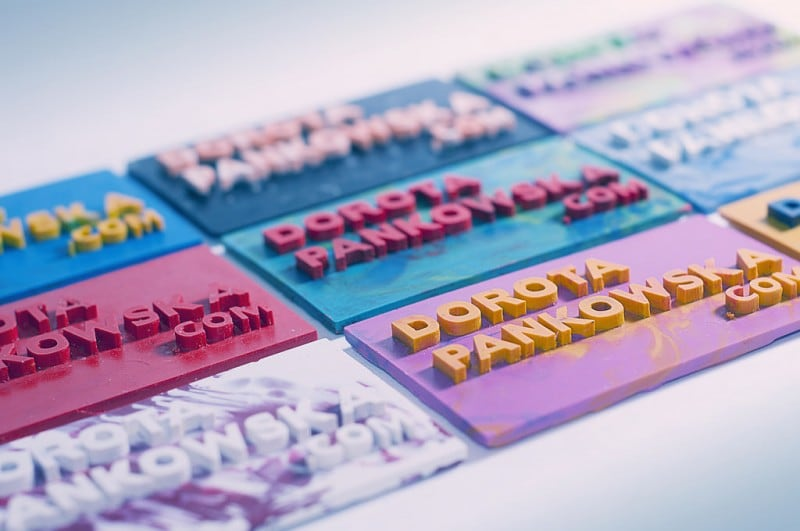 Colourful Business Cards Made of Crayons -business cards