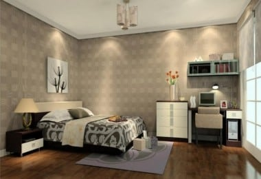 Incredible-Bedroom-Lighting-Design-Ideas-with-Brown-Floor-with-White-Cabinet-and-Pendant-Lamps