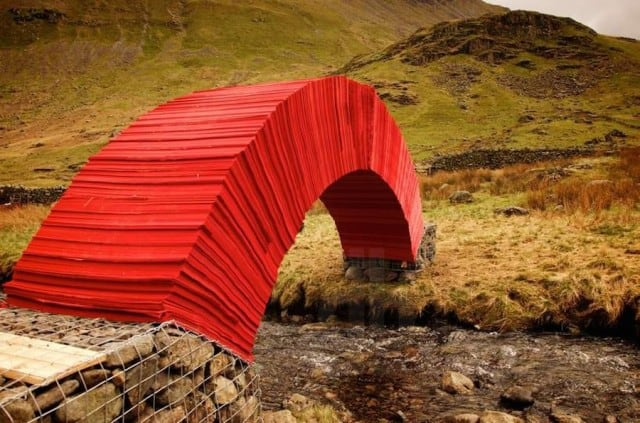A Red Bridge Made of 20000 Paper Sheets by Steve Messam -