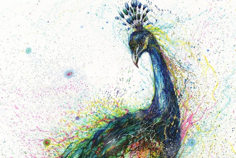 Volcanic Splattered Watercolor Animal Paintings by Hua Tunan -portraits, paintings, animals