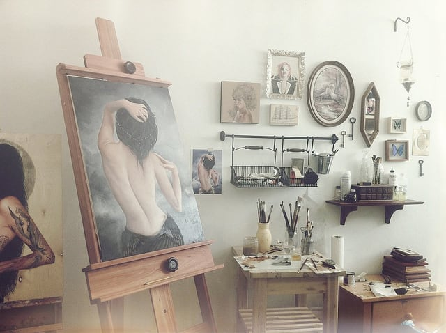 Contemporary Artist Charmaine Olivia's Creative Workspace -drawings