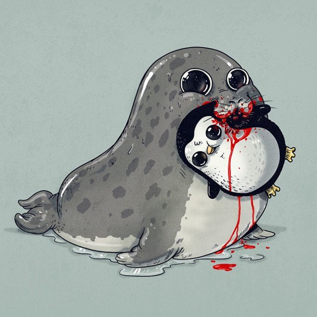 Playful Illustrations Of Cute Predators Devouring Their Smiling Victim -