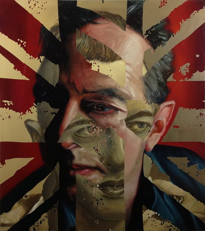Artist Paints Layered Portraits with Superimposed Photographs -portraits, patterns