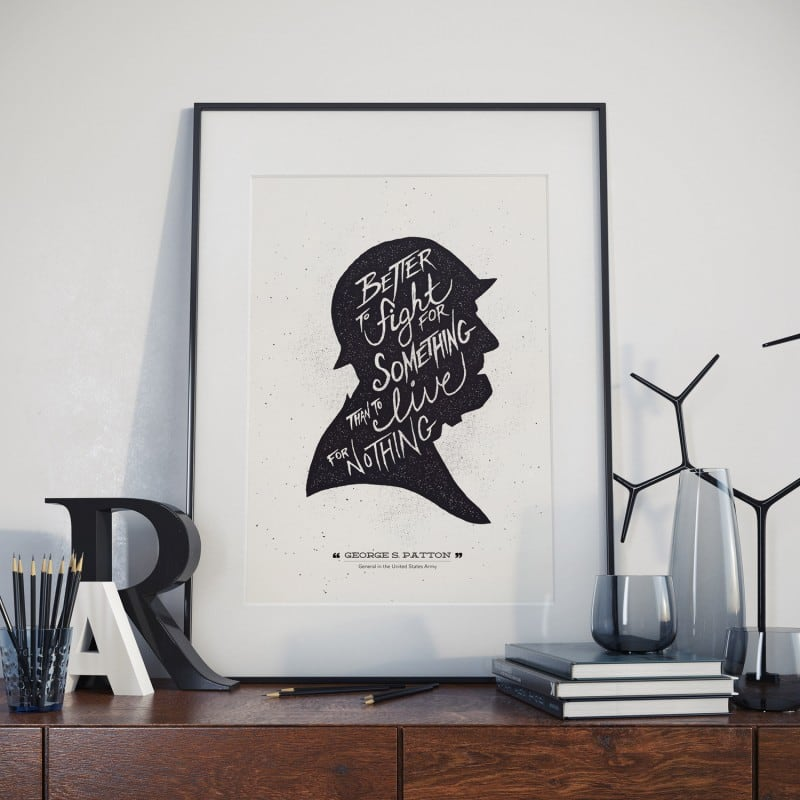 GEORGE S. PATTON HAND LETTERED POSTER QUOTE