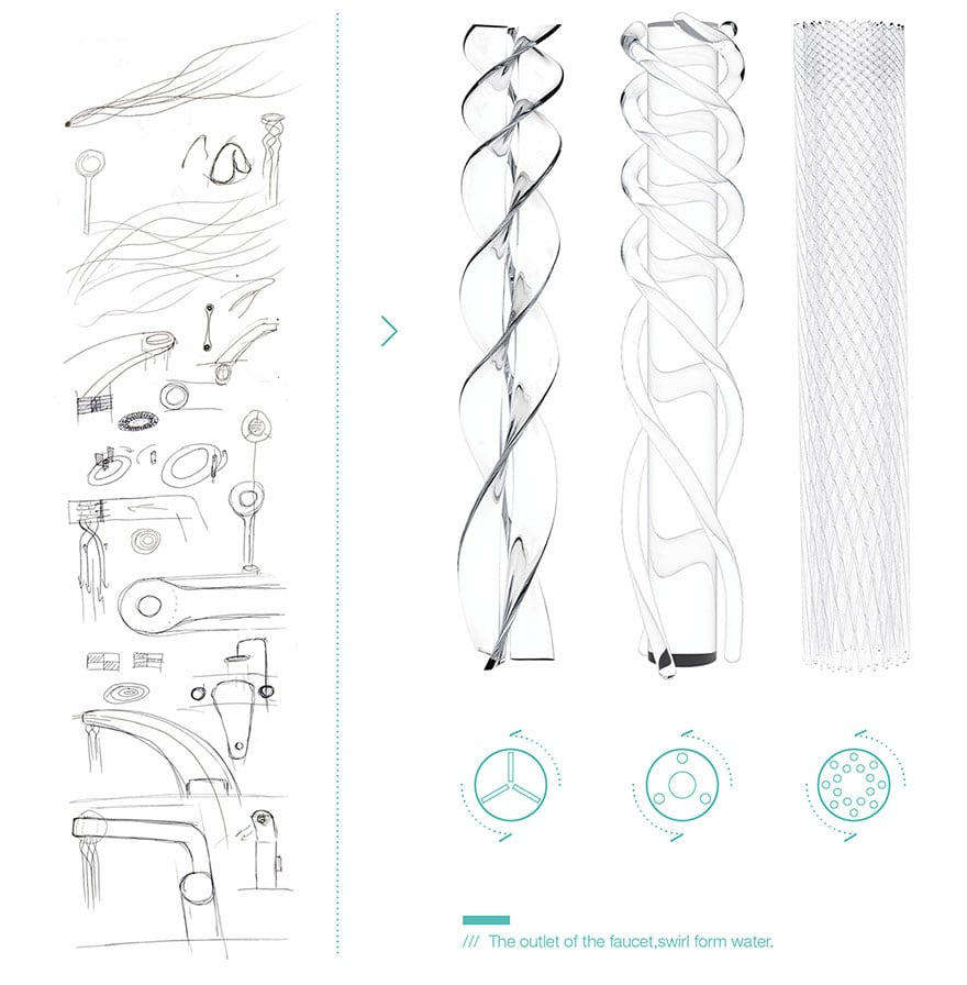 Student Designed A Faucet That Saves Water By Swirling It Into Delicate Patterns -water, patterns