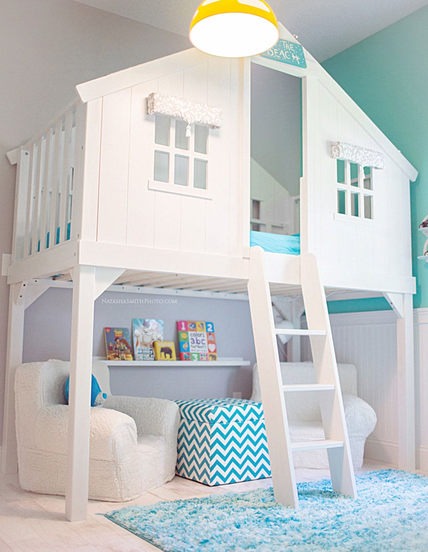 A mydal bunk bed transformed to a childrens playhouse