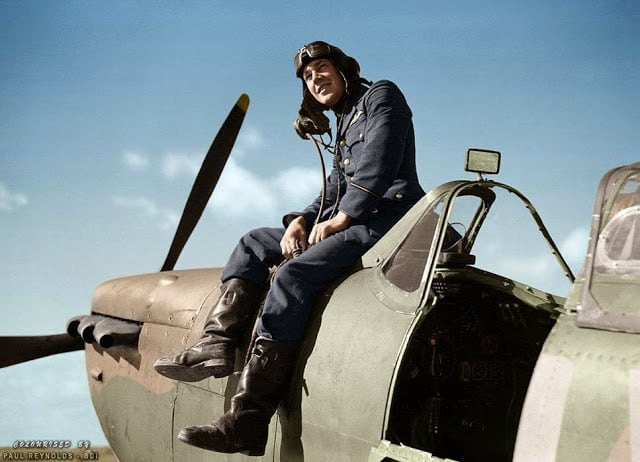 Flying Officer Leonard Haines of No. 19 Squadron RAF sits by the cockpit of his Supermarine Spitfire Mk.Ia (QV-?) at Fowlmere, near Duxford. September 1940. (Photo Source - © IWM CH 1373. Colorized by Paul Reynolds. Historic Military Photo Colourisations)