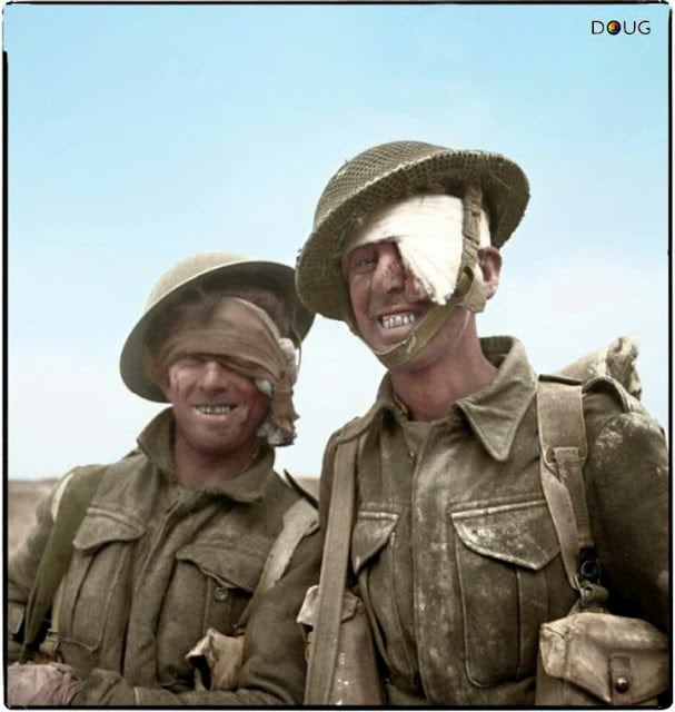 Two wounded soldiers from the 6th Durham Light Infantry, 50th (Northumbrian) Infantry Division, XXX Corps., during the Mareth line battle, 22-24 March 1943. (Colorized by Doug)