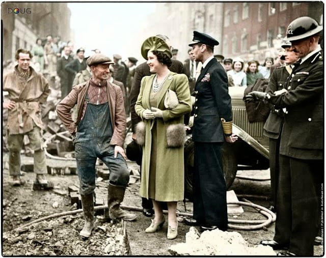 King George VI and Queen Elizabeth visiting bomb damaged streets in the East End of London on the 18th of October 1940. (Colorized by Doug)