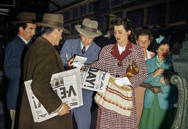 Margaret Sevilla, Los Angeles. May 7, 1945. VE Day! (Colorized by Patty Allison from America)