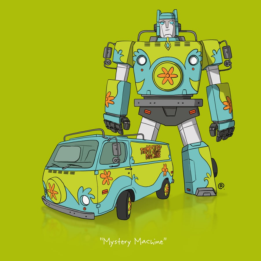 """If They Could Transform"" Illustrations by Darren Rawlings -transformation, cars"