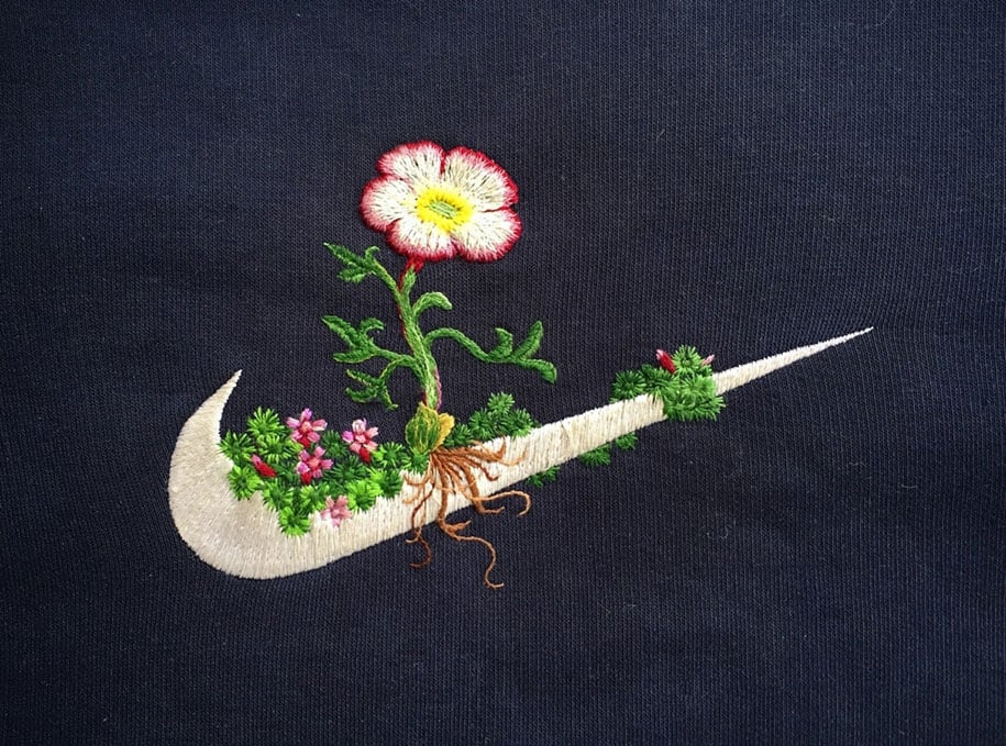Artist Takes Famous Logos And Turns Into Impressive Embroidered Art -embroidery, Bjork