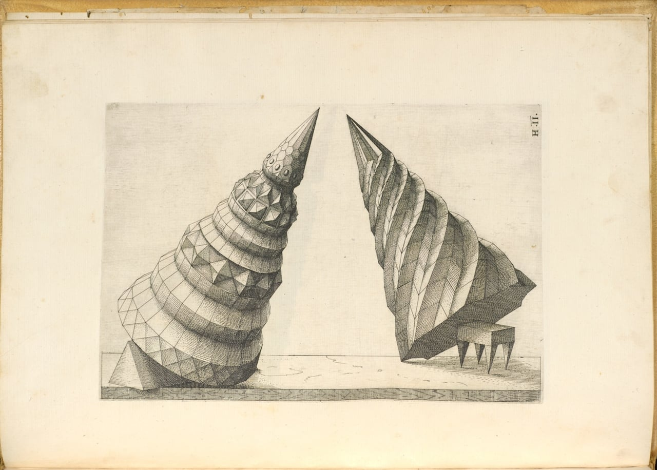Wenzel Jamnitzer, 'Perspectiva corporum regularium, anno MDLXVIII' [1568], etcher: Jost Amman, printer: Christoph Heussler (all images courtesy the Getty Research Institute Digital Collections)